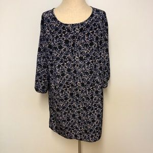 Blue black and tan floral shift dress